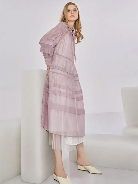 意澳女装品牌2020秋季粉色连衣裙长袖