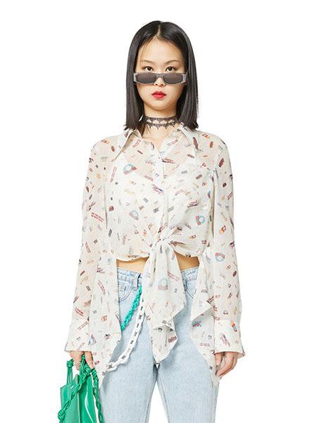 N-ONE女装品牌2020春夏翻领白色衬衫雪纺衫