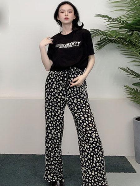 N-ONE女装品牌2020春夏刺绣短款T恤女小雏菊休闲裤两件套装