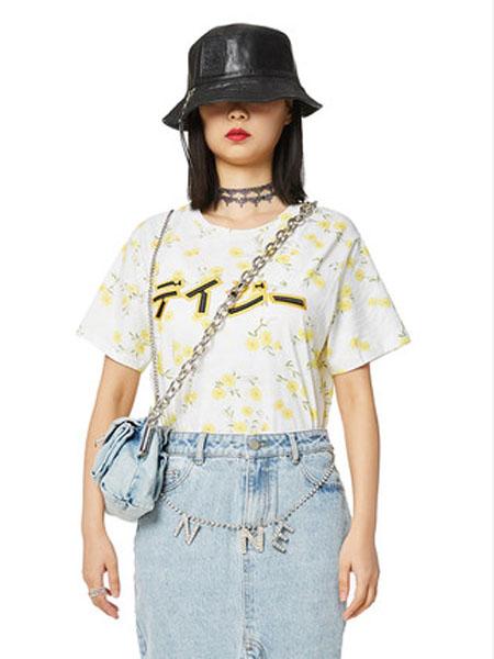 N-ONE女装品牌2020春夏新品印花圆领短袖T恤女宽松上衣
