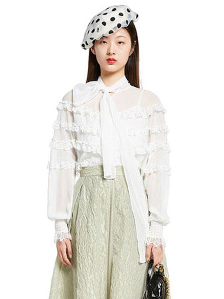 N-ONE女装品牌2020春夏N-新品木耳边飘带衬衫女苦熬桑上衣