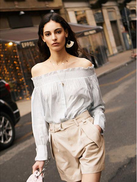 N-ONE女装品牌2020春夏同款夏季新品条纹一字肩上衣女长袖性感