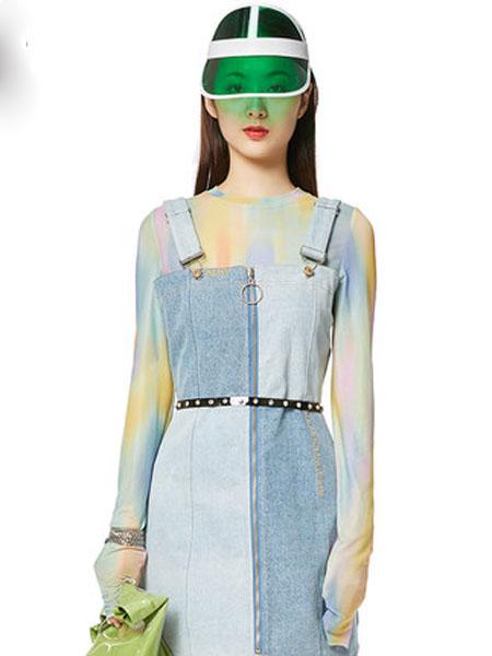 N-ONE女装品牌2020春夏夏季新品扎染圆领打底衫女修身上衣
