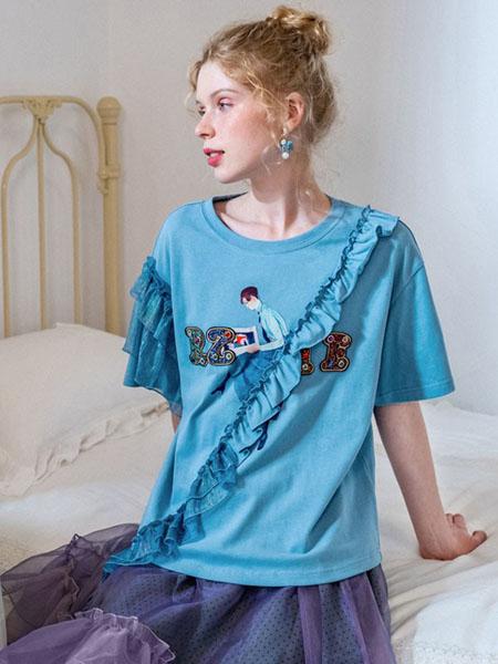 果酱公主女装品牌2020春夏圆领蓝色T恤