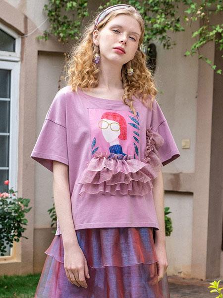 果酱公主女装品牌2020春夏紫色女孩人像T恤
