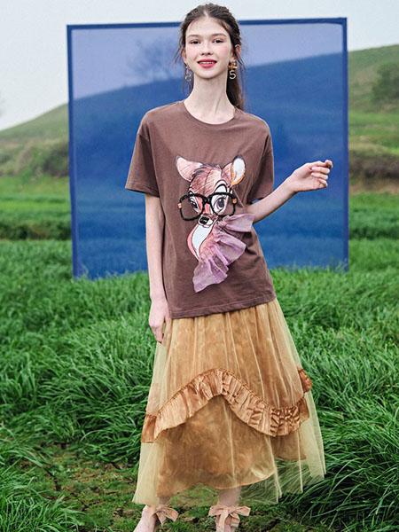 果酱公主女装品牌2020春夏褐色圆领T恤