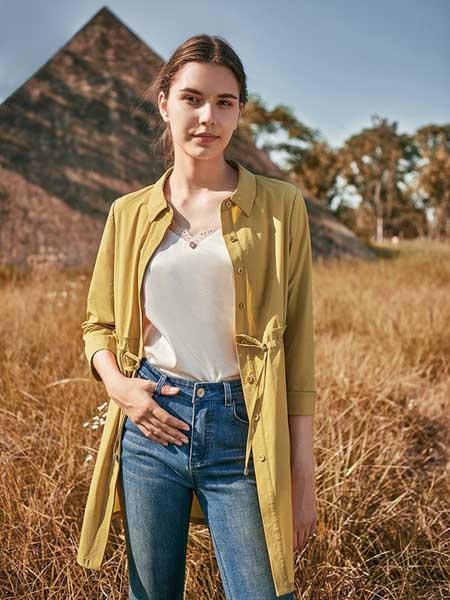 尚琳雅女装品牌2020秋季复古黄色衬衫外套