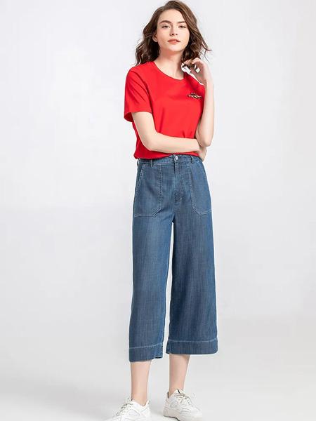 茗女装品牌2020春夏圆领红色T恤牛仔九分裤