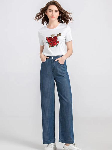 茗女装品牌2020春夏花朵白色T恤牛仔深蓝长裤