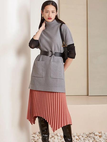 芊之美女装品牌2020秋季灰色皮带收腰连衣裙