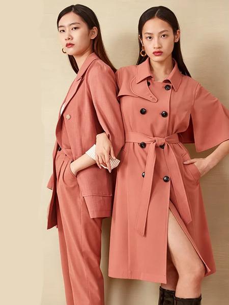 芊之美女装品牌2020秋季粉色收腰双排扣连衣裙