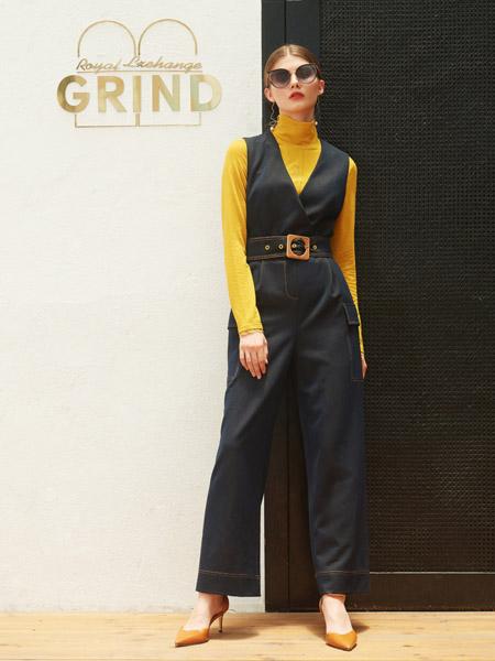 例格女装品牌2020秋季连体裤黑色皮带收腰黄色上衣