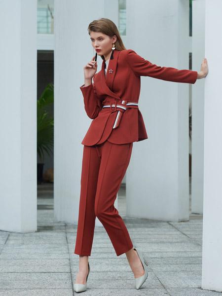 例格女装品牌2020秋季V领红色西装套装
