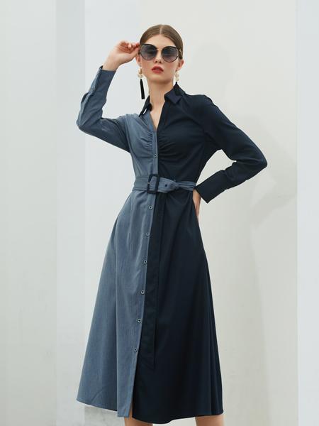 例格女装品牌2020秋季藏蓝色皮带收腰连衣裙