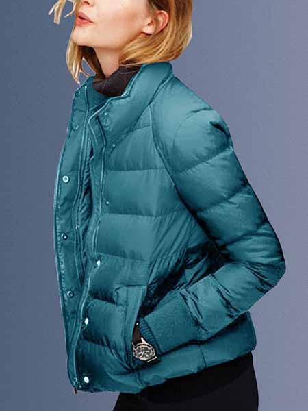 帝柔女装品牌秋冬青蓝色保暖外套短款