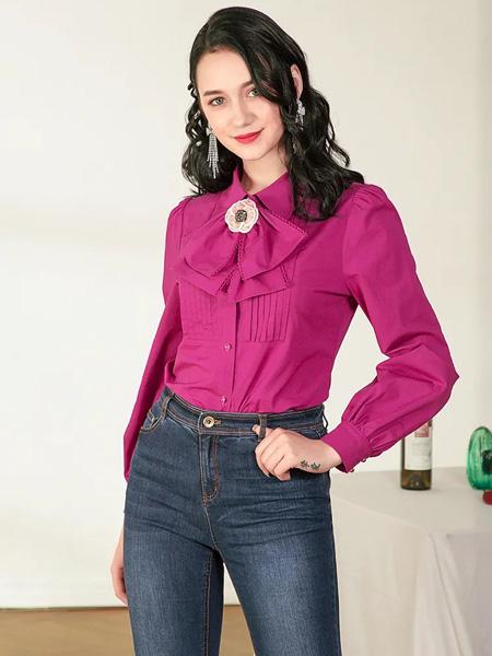 珈姿・莱尔女装品牌2020秋季紫粉色雪纺衫