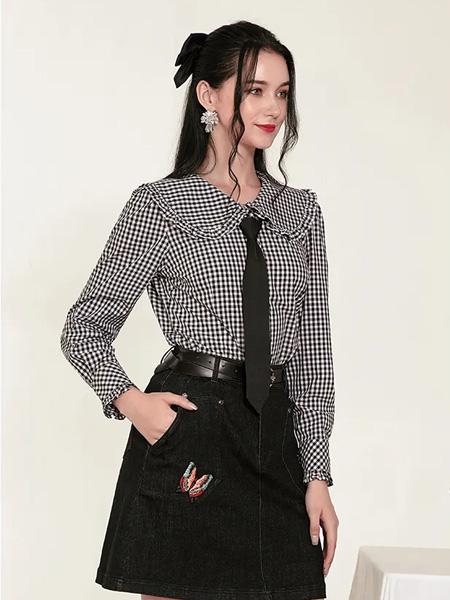 珈姿・莱尔女装品牌2020秋季领带格纹V领上衣
