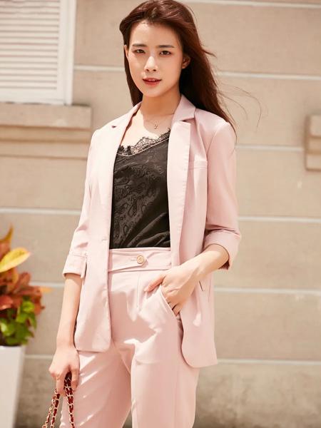 季候风女装品牌2020秋季粉色西装套装