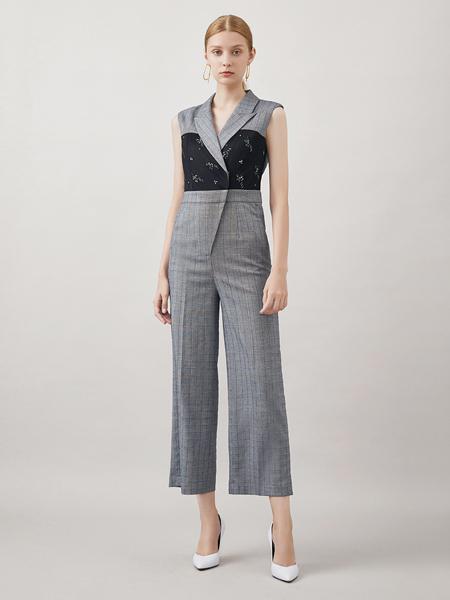 红凯贝尔女装品牌2020秋季灰色无袖连体裤
