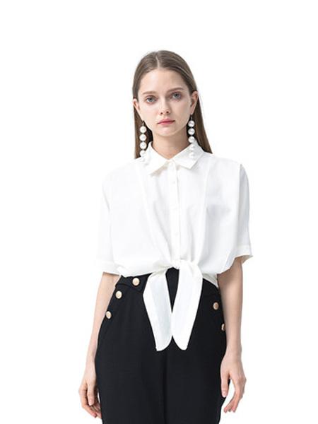 依妙女装品牌2020春夏emu/依妙设计感翻领雪纺衬衫女短袖气质白色小衫宽松高档时尚洋气