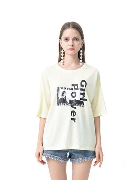 依妙女装品牌2020春夏emu/依妙欧洲站短袖t恤女ins潮宽松韩版半袖洋气中长款五分袖上衣