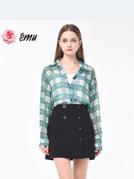 依妙女装品牌2020春夏emu/依妙法式气质长袖格子衬衫女设计感小众衬衣夏季薄款时尚洋气