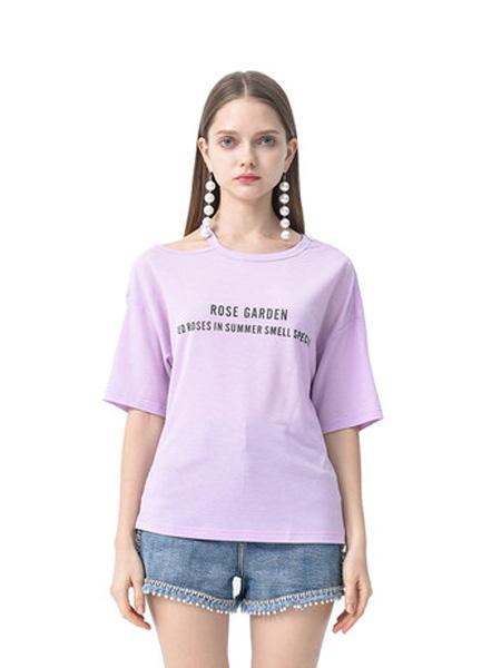 依妙女装品牌2020春夏emu/依妙宽松短袖t恤女夏后背荷叶边设计感小众时尚潮流露肩上衣