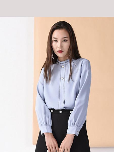 依妙女装品牌2020春夏emu/依妙圆领蓝色长袖雪纺衬衫女设计感小众外穿衬衣百搭气质显瘦