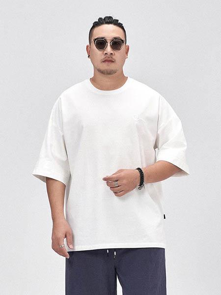 半墨男装品牌2020春夏宽松纯棉纯色T恤