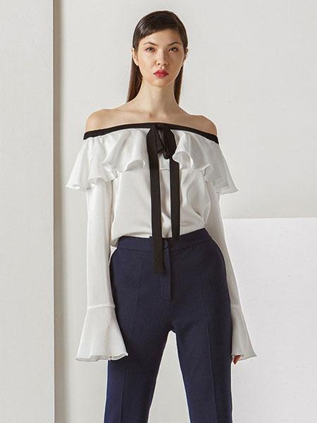 菲诺格诺女装品牌2020春夏个性露肩衬衫