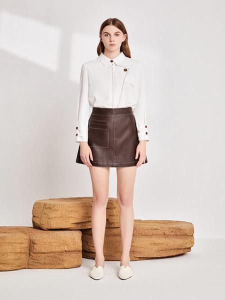 EMIVA艾蜜唯娅女装品牌2020秋季方领白色衬衫短裙
