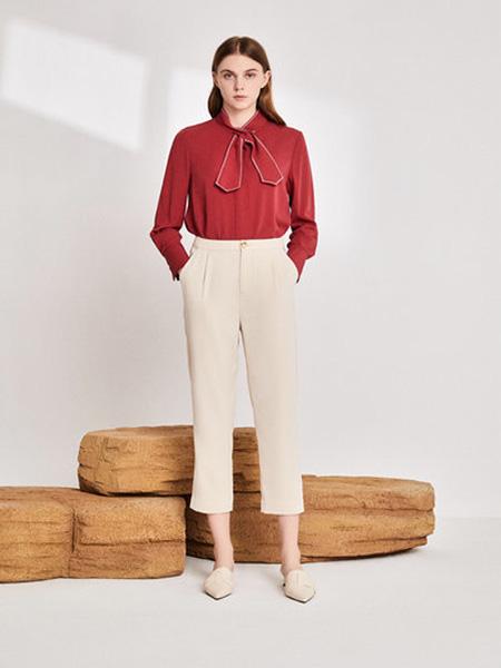 EMIVA艾蜜唯娅女装品牌2020秋季方领红色上衣米色九分裤