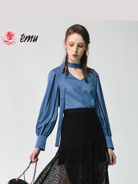 依妙女装品牌2020emu/依妙气质v领波点雪纺衬衫女设计感小众衬衣时尚洋气