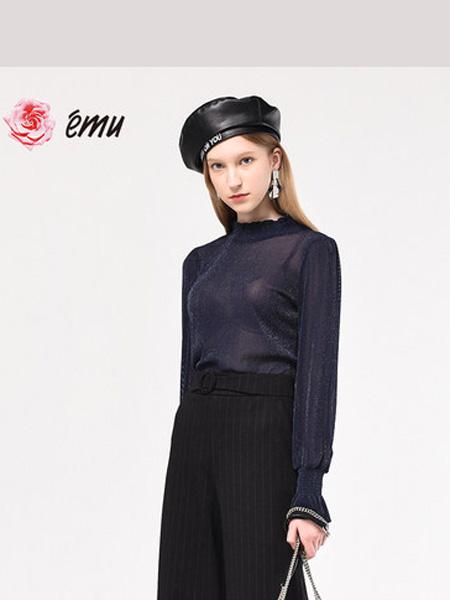 依妙女装品牌2020emu/依妙透明长袖打底衫女小款打底衫修身性感