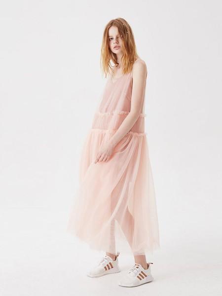 Awaylee女装品牌2020春夏网纱宽松仙女连衣裙