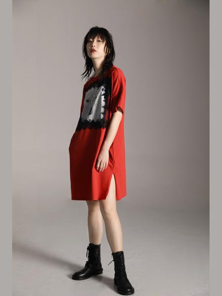 AttinaLife阿缇娜女装品牌2020秋季红色开叉连衣裙修身