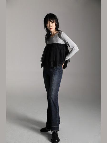AttinaLife阿缇娜女装品牌2020秋季黑色拼接吊带黑色上衣