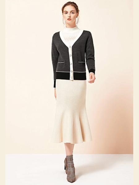 雅意娜菲女装品牌2020秋冬深灰色针织外套