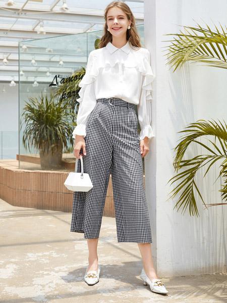 春美多女装品牌2020秋季翻领白色衬衫格纹九分裤