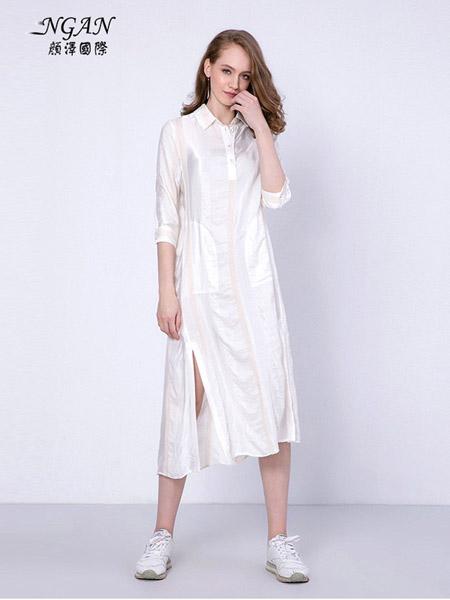 颜泽NGAN女装品牌2020春夏纯棉长款衬衫连衣裙