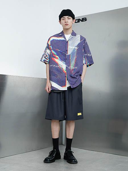 TGNS男装品牌2020春夏时尚印花潮流风衬衫