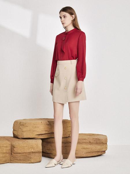 你即永恒女装品牌2020秋季圆领红色长袖衬衫