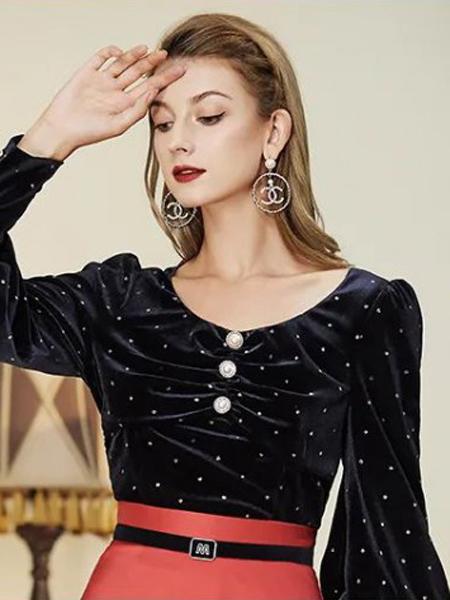 诺曼琦女装品牌2020秋季波点黑色上衣长袖