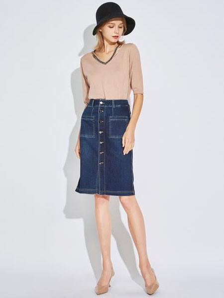 欧炫尔女装品牌2020春夏V领灰粉色上衣