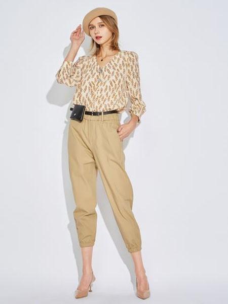 欧炫尔女装品牌2020春夏V领黄色树叶印花雪纺衫卡其色长裤
