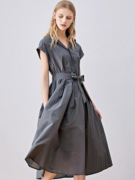 iam27女装品牌2020秋季V领深灰色蝴蝶结连衣裙