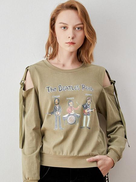 iam27女装品牌2020秋季露肩绿色长袖上衣