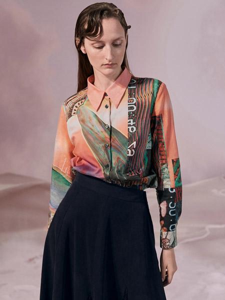 谜底女装品牌2020秋季橙色翻领衬衫