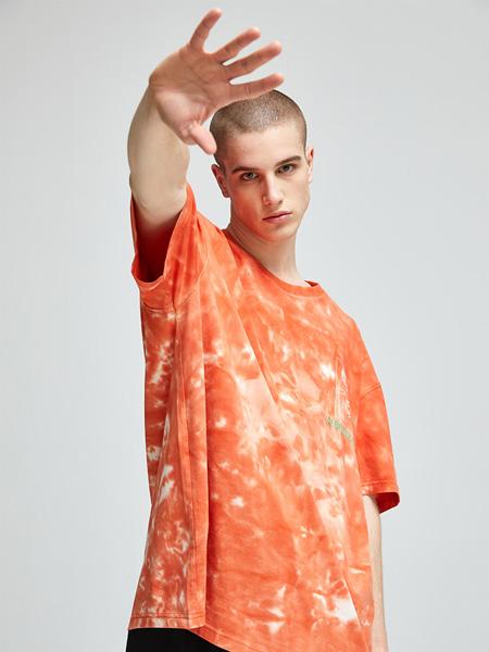 CLUBXXHH潮牌品牌2020春夏斑驳橙色T恤
