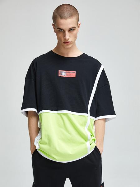 CLUBXXHH潮牌品牌2020春夏圆领黑色拼接绿色T恤